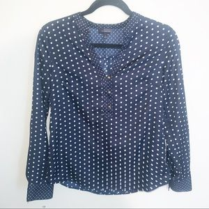 The Limited Navy Polka Dot Blouse Work Wear